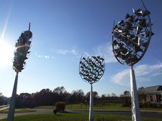 These are wine glass sculptures outside Prince Michel Winery