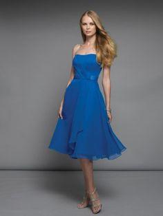 (FITS0243214 )2012 Style A-line Strapless Ruffles  Sleeveless Knee-length  Chiffon Bridesmaid Dress / Cocktail Dress / Homecoming Dress