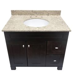 Cultured Veined Granite shown in River Bottom with a White Oval Under mount Bowl.