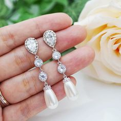 Swarovski Tear drop Pearls with Cubic Zirconia connectors Bridal Earrings - Earrings Nation