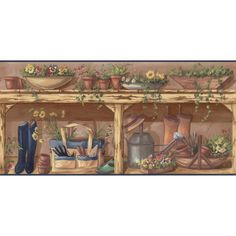 """Shop allen + roth 10-1/4"""" Earth Tone Gardening Prepasted Wallpaper Border at Lowes.com"""