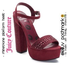 JUICY • rhinestone platform heels sandals in wine NWT.Featuring rhinestone accents, these Juicy Couture platform high heels are a show-stopper! * Please see 3rd picture, there is 1 rhinestone missing in one of the heels (not noticeable).  SHOE FEATURES: ⚜Rhinestone accents ⚜Lip graphics on footbed ⚜Chunky heel SHOE CONSTRUCTION: ⚜Manmade upper & lining; TPR outsole SHOE DETAILS: ⚜Open toe; Buckle closure ⚜Lightly padded footbed ⚜6-in heel, 1.5-in platform Juicy Couture Shoes Platforms