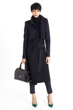 Structured military wool jacket with belt tie and a great bag. Enough said.   Oscar de la Renta   Pre-Fall 2014 Collection   Style.com