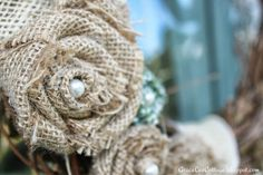 Grace Lee Cottage: A simple burlap flower tutorial. Burlap Projects, Burlap Crafts, Burlap Wreath, Decor Crafts, Fabric Crafts, Fun Crafts, Diy Projects, Burlap Flowers, Diy Flowers