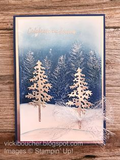 Christmas Tree Cards, Stampin Up Christmas, Xmas Cards, Christmas Art, Holiday Cards, Fall Cards, Winter Cards, Hand Making Cards, Card Making