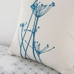 cow parsley // small cushion // hand printed // handmade // teal ink // cotton canvas via Etsy.