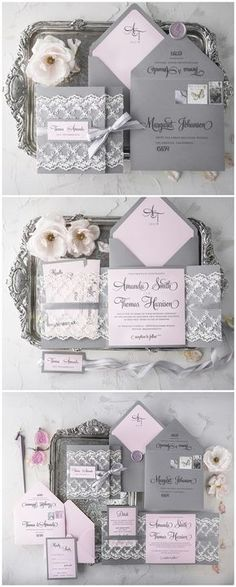 Pink and grey lace wedding invitations #rusticwedding #wedding #invitations #weddingcards / http://www.deerpearlflowers.com/wedding-invitations-from-4lovepolkadots/