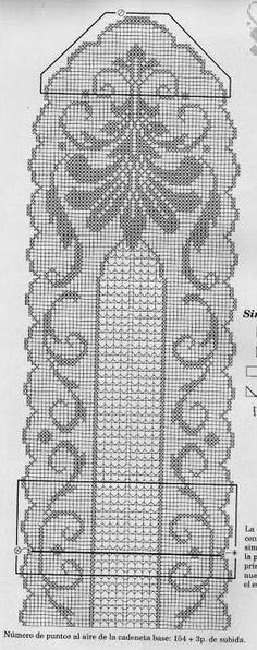 Queen of the Garden Runner Pattern chart Crochet Lace Edging, C2c Crochet, Crochet Doily Patterns, Crochet Books, Crochet Home, Thread Crochet, Crochet Designs, Crochet Doilies, Crochet Stitches
