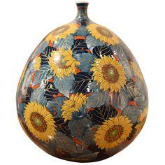 Large Japanese Hand-Painted Decorative Porcelain Vase by Master Artist For Sale Japanese Vase, Japanese Porcelain, Porcelain Jewelry, Porcelain Vase, Painted Porcelain, Sunflower Vase, Japanese Home Decor, Drip Painting, Art Furniture