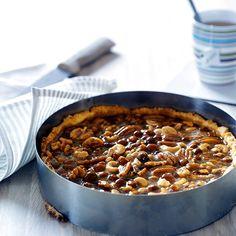 Karameltærte med nødder