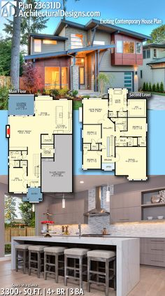 Architectural Designs Modern House Plan 23631JD! This home gives you 4+ beds, 3 baths and over 3,300 sq. ft. of heated living space. Ready when you are. Where do YOU want to build? #23631JD #adhouseplans #architecturaldesigns #houseplan #architecture #newhome #newconstruction #newhouse #homedesign #dreamhome #dreamhouse #homeplan #architecture #architect #modernhouse #modernplan #kitchenviews #modernhome