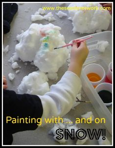 water and flying animal unit - Painting with snow . and other fun snowy activities! Toddler Crafts, Preschool Activities, Crafts For Kids, Snow Much Fun, Snow Fun, Snow Activities, Holiday Activities, Snow Theme, Winter Theme