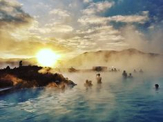 Magical moment of a beautiful sunrise #BlueLagoon #Iceland