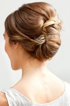White and Gold Wedding. Bridesmaid Hair. Natural Hair. Like the volume on top and the low bun. This but instead of the pulled back part being straight, curls.