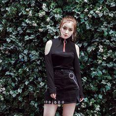 [Darker Then Black] Open Shoulder High Collar Long-sleeved Shirt SD02072