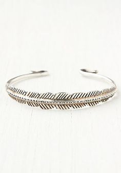 Feather Etched Skinny Cuff