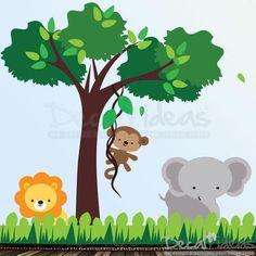 Nursery Jungle Safari Animal Wall Decal with Elephant, Lion and Monkey - Tree Wall Decal - Baby Wall Decal - Kids Wall Decal