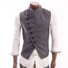 Cool vest!  (If it fits?  Korean sizes) -  Doublju Mens Stunning Design Slim Vest