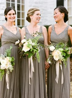 Love the ribbons. Simple flowers like these (just white and green) might go best with the BM dresses. But then is the wedding too boring with no colors?