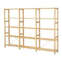 IKEA - IVAR, Secciones/baldas, De madera maciza sin tratar, un material natural muy duradero y resistente que puedes cuidar aplicando aceite o cera.Puedes mover las baldas para adaptar el espacio a tus necesidades.