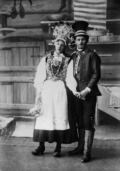 Swedish couple on their  wedding day. The bride wears a traditional outfit  decorated with hardanger embroidery, 1900