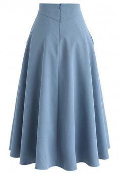 Classic Simplicity A-Line Midi Skirt in Blue - Retro, Indie and Unique Fashion