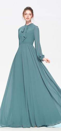 long sleeve bridesmaid dress Dusty Green Modest Bridesmaid Dresses Long Sleeves Caring for Laminate Modest Formal Dresses, Modest Bridesmaid Dresses, Stylish Dresses, Fashion Dresses, A Line Wedding Dress With Sleeves, Maxi Dress With Sleeves, Designer Party Wear Dresses, Kurti Designs Party Wear, Designs For Dresses