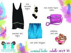 muscu shot negra + aros corazones + maletin violeta + mini lycra turquesa metalizado + sandalias pisco.