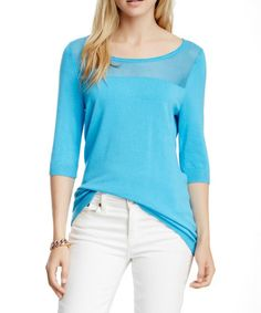 Loving this Blue Open Knit Three-Quarter Sleeve Top - Women on #zulily! #zulilyfinds