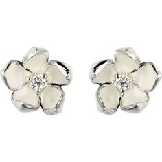 Shaun Leane Cherry Blossom silver, ivory enamel and diamond stud... (5 775 ZAR) ❤ liked on Polyvore featuring jewelry, earrings, enamel earrings, silver jewelry, cherry blossom earrings, diamond jewelry and silver charms