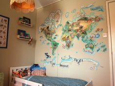 Muurschildering wereldkaart jongenskamer