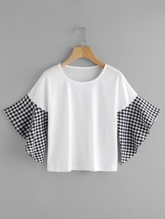 Shop Contrast Gingham Fluted Sleeve Tee online. SheIn offers Contrast Gingham Fluted Sleeve Tee & more to fit your fashionable needs.