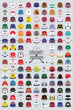 Pop Chart Lab --> Design + Data = Delight --> A Visual Compendium of Hockey Jerseys Hockey Logos, Sports Logos, Nhl Logos, History Of Hockey, Nhl Highlights, Hockey Rules, Hockey Sayings, Fantasias Halloween, Bucket List Travel