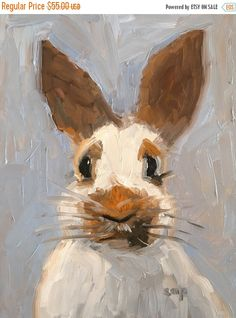 ON SALE Bunny painting rabbit art oil by modernimpressionist