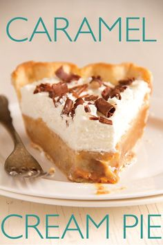 Caramel Cream Pie and other pie recipes 13 Desserts, Brownie Desserts, Delicious Desserts, Dessert Recipes, Yummy Food, Plated Desserts, Yummy Treats, Sweet Treats, Sweet Pie