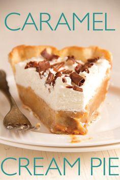 Caramel Cream Pie and other pie recipes 13 Desserts, Brownie Desserts, Delicious Desserts, Yummy Food, Pie Recipes, Sweet Recipes, Dessert Recipes, Sweet Pie, Cookies Et Biscuits