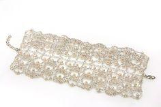 Bridal fan lace bracelet crochet silver wire Pearl by inbarshahak, $169.00