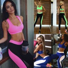 Women Fitness Clothes Yoga Set Running Bra & Pants Gym Workout Tights Sport Wear Tops For Leggings, Leggings Are Not Pants, Athletic Outfits, Sport Outfits, Athletic Pants, Gym Bra, Victoria, Running Workouts, Gym