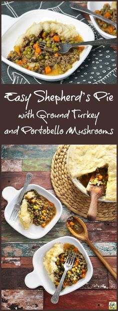 Looking for a simple shepherd's pie recipe that's easy on your budget and nutritious too? This Easy Shepherd's Pie recipe with Ground Turkey and Portobello Mushrooms is delicious and uses less ground meat and more healthy vegetables. It's a gluten free di