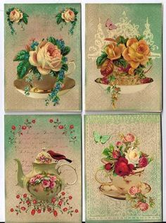 Tea cup and Roses Note Cards Vintage Tags, Vintage Labels, Vintage Ephemera, Vintage Postcards, Vintage Prints, Decoupage Vintage, Decoupage Paper, Vintage Paper, Decoupage Printables