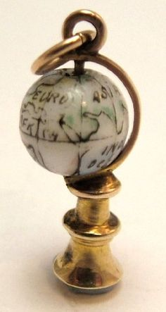 9ct Gold and Porcelain Globe Charm
