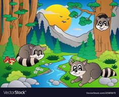Forest scene with various animals 6 vector image on VectorStock Colour Book, Forest Drawing, Jungles, Animal 2, Stone Crafts, Adobe Illustrator, Coloring Books, Vector Free, Coconut