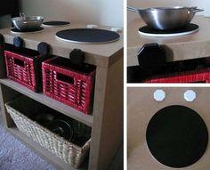 homemade simple shelf-in-shelf ikea kitchen with mousepad burners