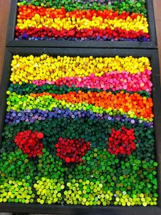 I just finished working with 6 classes of Kindergarten and 1st graders to create collaborative pieces of art using crayons.            We...