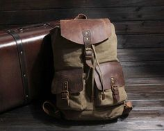 CANVAS LEATHER BACKPACK, SCHOOL BACKPACK, WAXED CANVAS BACKPACK