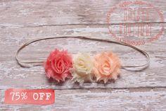 Mini Vintage Rose Pink, Ivory, Peach Flower Headband/ Shabby Flower Headband/ Newborn Headband/ Baby Headband/ Flower Girl/ Wedding/ Photo by MaisysBoutique on Etsy