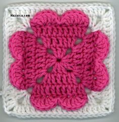 Valentine's Day will be here before you know it, so get crocheting with this free crochet afghan square pattern! This 4 Heart Square is the perfect homemade gift to give your sweetheart this year. All you need is some weight yarn and a J hook. Point Granny Au Crochet, Crochet Squares Afghan, Crochet Motifs, Crochet Blocks, Granny Square Crochet Pattern, Knit Or Crochet, Crochet Crafts, Crochet Projects, Crochet Patterns