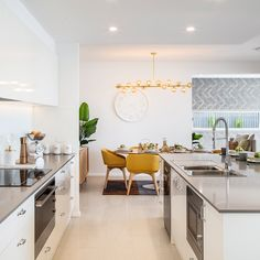 The stylish and generous Kitchen island bench is at the heart of the Springvale living space. The Gourmet Kitchen lives at the heart of the home, overlooking the Family/Living to one side, the Dining and Home Theatre to the other, and the Alfresco in front of the stylish island bench.