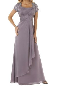 Angel Bride Long A-Line Pageant Party Dresses Evening Gowns with Cap Sleeves Grey- US Size 22W   - Click image twice for more info - See a larger selection of evening dresses at  http://azdresses.com/category/dress-categories/dresses-by-occassion/evening-dresses-gowns/ - woman, womans fashion , womans dresses, gown, long dresses, gift ideas , long gown  « AZdresses.com