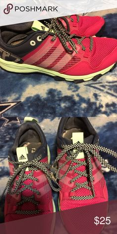 Women's adidas size 8.5 It's either magenta or hot pink, the soles are mint green.They have been worn 3 times. In EUC Adidas Shoes Athletic Shoes